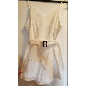 Belted White Romper